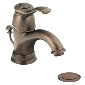 Moen Kingsley Oil-Rubbed Bronze 1-Handle 4-in Centerset WaterSense Bathroom Faucet (Drain Included)