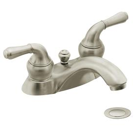 Moen Monticello Brushed Nickel 2-Handle 4-in Centerset WaterSense Bathroom Sink Faucet (Drain Included)