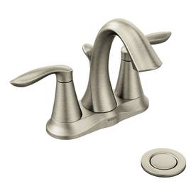 Moen Eva Brushed Nickel 2-Handle 4-in Centerset Watersense Bathroom Sink Faucet (Drain Included)