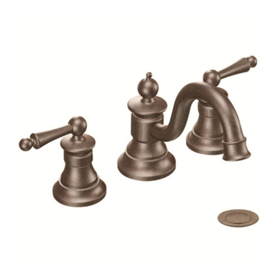 Shop moen waterhill oil rubbed bronze 2 handle widespread for Bathroom sink faucets
