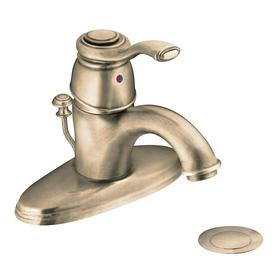 Moen Kingsley Antique Bronze 1-Handle Single hole/4-in Centerset WaterSense Bathroom Sink Faucet (Drain Included)