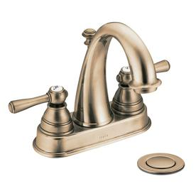 Moen Kingsley Antique Bronze 2-Handle 4-in Centerset WaterSense Bathroom Sink Faucet (Drain Included)