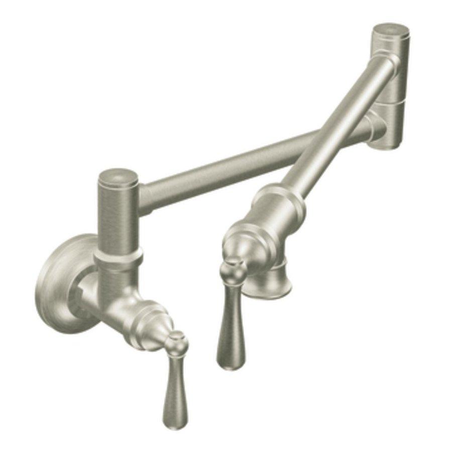 shop moen pot filler classic stainless pot filler kitchen faucet at