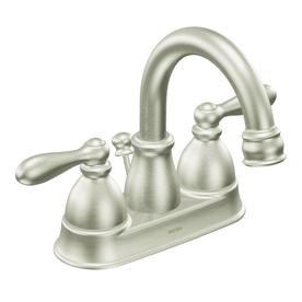 Moen Caldwell Brushed Nickel 2-Handle 4-in Centerset WaterSense Bathroom Faucet (Drain Included)
