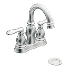 Moen Caldwell Chrome 2-Handle 4-in Centerset WaterSense Bathroom Sink Faucet (Drain Included)