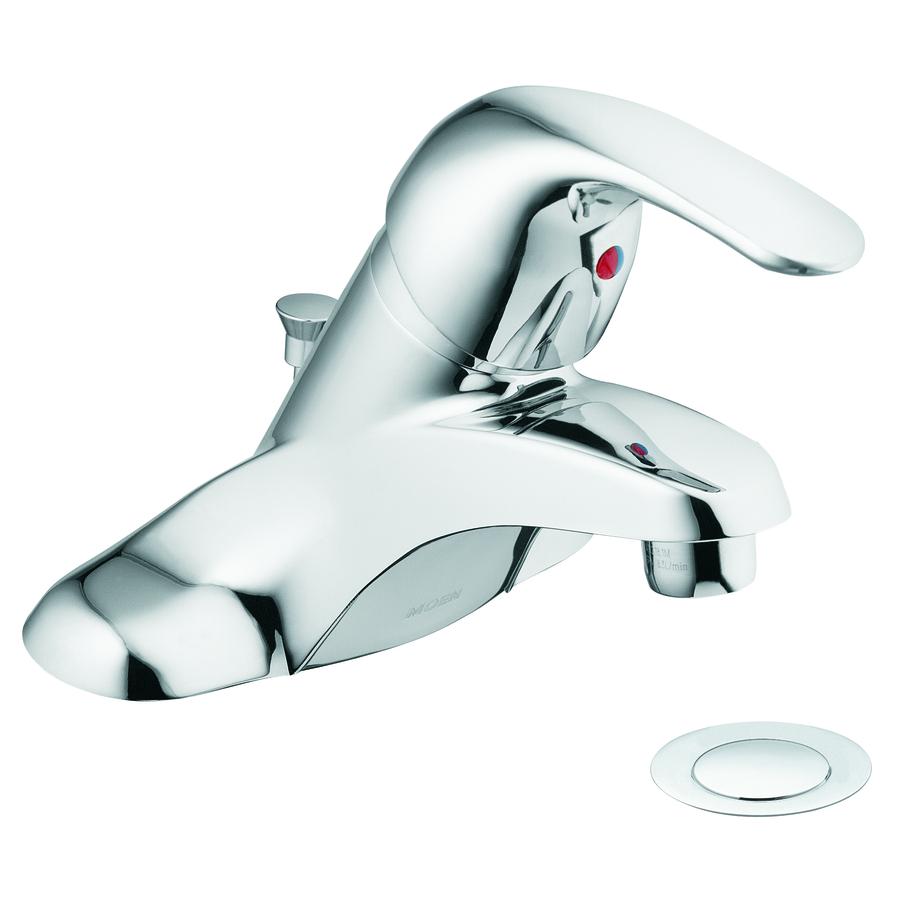 Shop moen adler chrome 1 handle 4 in centerset watersense - Moen chrome bathroom sink faucets ...