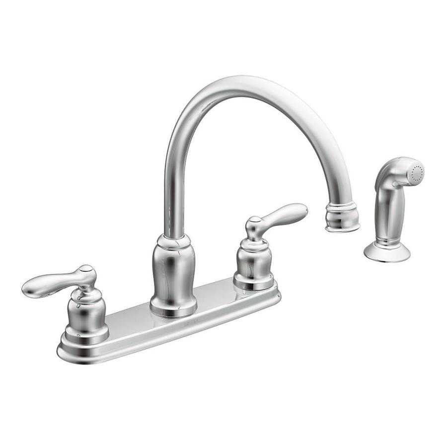 Shop moen caldwell chrome 2 handle high arc kitchen faucet - Lowes kitchen sink faucet ...