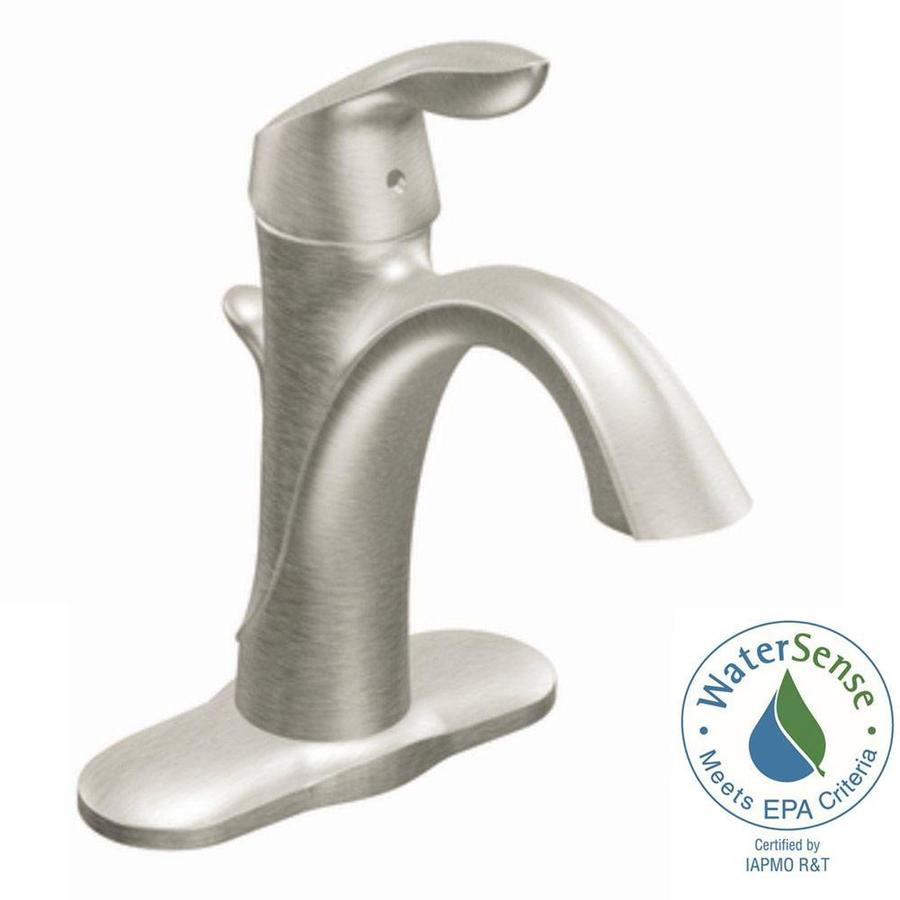 Shop Moen Eva Brushed Nickel 1 Handle Single Hole 4 In Centerset Watersense Bathroom Sink Faucet