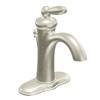 Moen Brantford Brushed Nickel 1-Handle 4-in Centerset WaterSense Bathroom Faucet (Drain Included)
