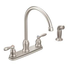 shop moen caldwell spot resist stainless 2 handle high arc moen ca87629 caldwell chrome two handle kitchen faucet at