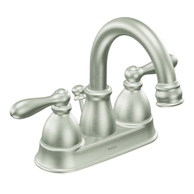 Moen Caldwell Spot Resist Brushed Nickel 2-Handle 4-in Centerset WaterSense Labeled Bathroom Sink Faucet (Drain Included)