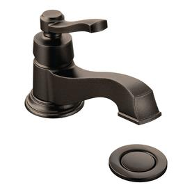 Moen Rothbury Oil-Rubbed Bronze 1-Handle 4-in Centerset WaterSense Bathroom Faucet (Drain Included)
