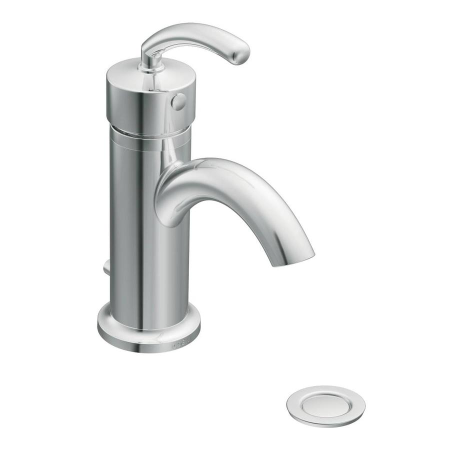 Shop Moen Icon Chrome 1 Handle Single Hole 4 In Centerset Watersense Bathroom Faucet Drain