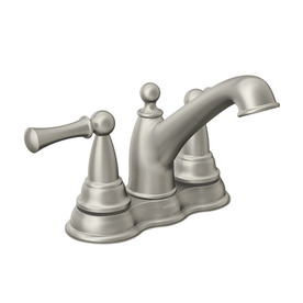 Moen Sage Spot Resist Brushed Nickel 2-Handle 4-in Centerset WaterSense Bathroom Sink Faucet (Drain Included)