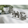 Moen Boardwalk Spot Resist Brushed Nickel 2-Handle 4-in Centerset WaterSense Bathroom Faucet (Drain Included)