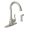 Moen Anabelle Spot Resist Stainless 1-Handle High-Arc Kitchen Faucet with Side Spray