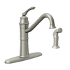 Moen Wetherly Spot Resist Stainless 1-Handle High-Arc Kitchen Faucet with Side Spray