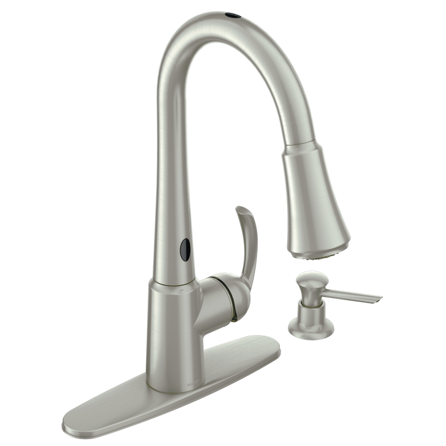 stainless 1 handle pull down touchless kitchen faucet at