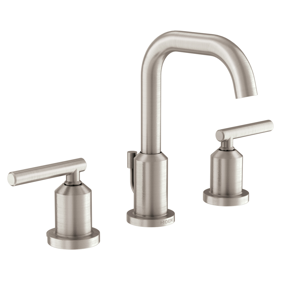 Shop moen gibson spot resist brushed nickel 2 handle for Bathroom faucets lowes