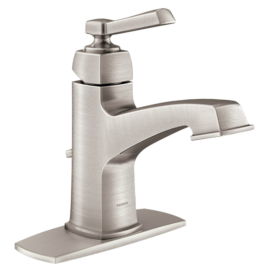 Shop moen boardwalk spot resist brushed nickel 1 handle - Single hole bathroom faucets brushed nickel ...