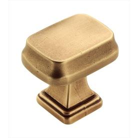 Amerock 1-in Gilded Brass Revitalize Square Cabinet Knob