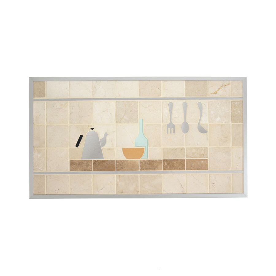 shop broan 20 in x 36 in cream stone kitchen backsplash at