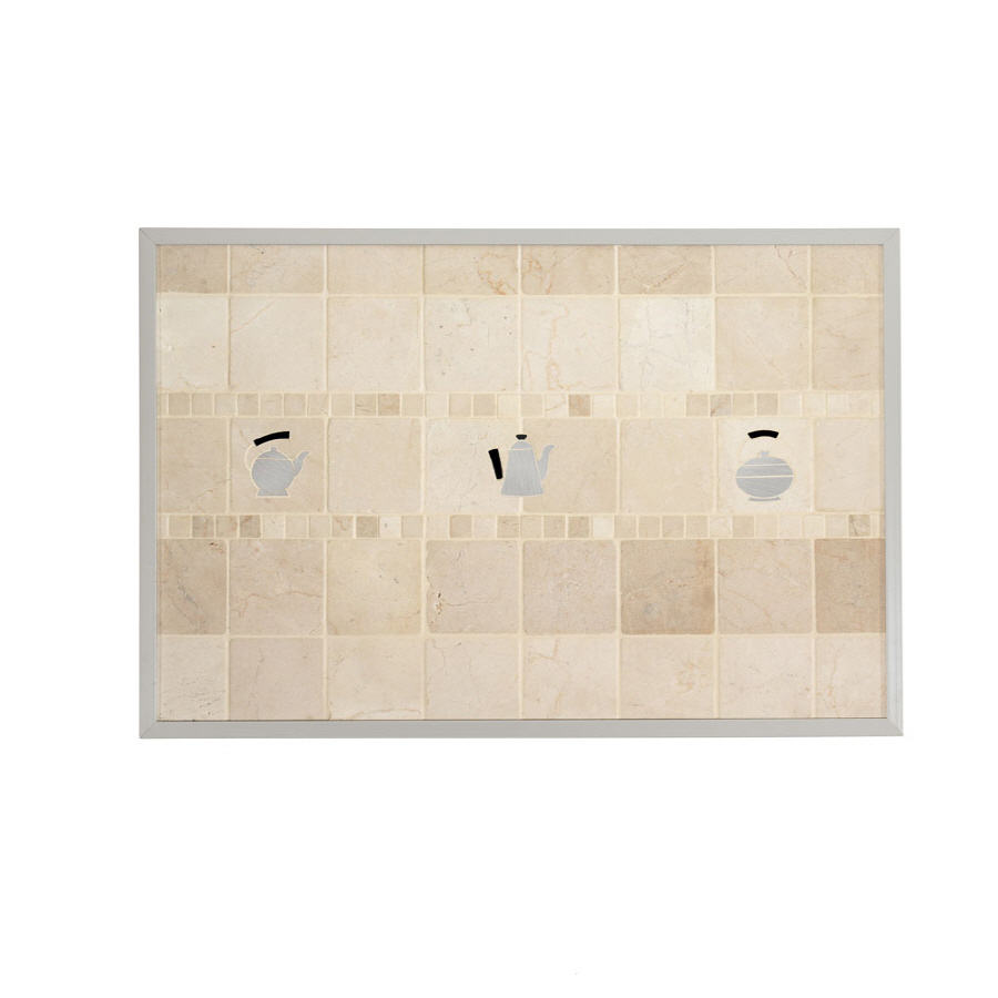 shop broan 20 in x 30 in cream stone kitchen backsplash at