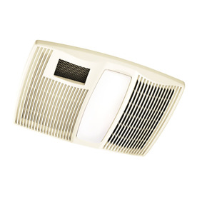 Broan 0.9-Sone 110 CFM Polymeric White Bathroom Fan with Heater and Light