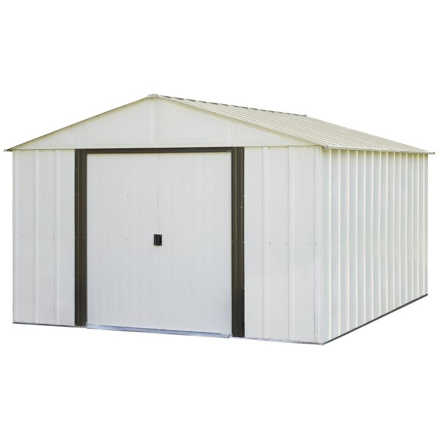 Shop arrow galvanized steel storage shed common 10 ft x for Lowes storage sheds