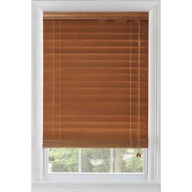 Custom Size Now by Levolor 29-in W x 64-in L Warm Cherry Wood 2.375-in Slat Room Darkening Plantation Window Blinds