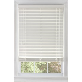 Custom Size Now by Levolor 62-in W x 64-in L White Faux Wood 2.38-in Slat Room Darkening Plantation Cordless Blinds