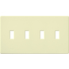 Lutron 4-Gang Almond Standard Toggle Plastic Wall Plate