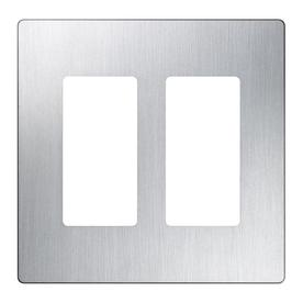 Lutron Claro 2-Gang Stainless Steel Decorator Rocker Metal Wall Plate