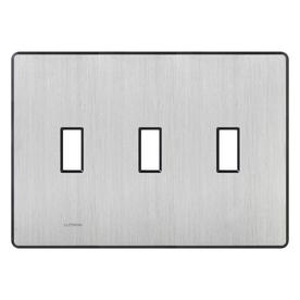 Lutron Fassada 3-Gang Stainless Steel Standard Toggle Metal Wall Plate