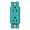 Lutron 15-Amp Claro Turquoise Decorator Single Electrical Outlet