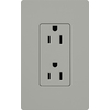Lutron 15-Amp Gray Decorator Single Electrical Outlet