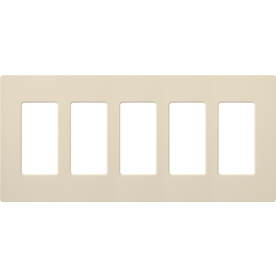 Lutron 5-Gang Light Almond Decorator Rocker Plastic Wall Plate