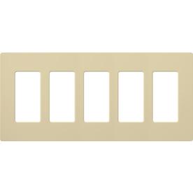 Lutron 5-Gang Ivory Decorator Rocker Plastic Wall Plate