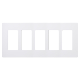 Lutron 5-Gang White Decorator Rocker Plastic Wall Plate