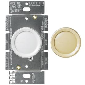 Lutron Rotary Eco-Dim 1-Switch 600-Watt 3-Way Single Pole White Indoor Rotary Dimmer