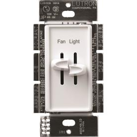 Lutron Skylark 1-Switch 1.5-Amp Single Pole White Indoor Slide Combination Dimmer and Fan Control