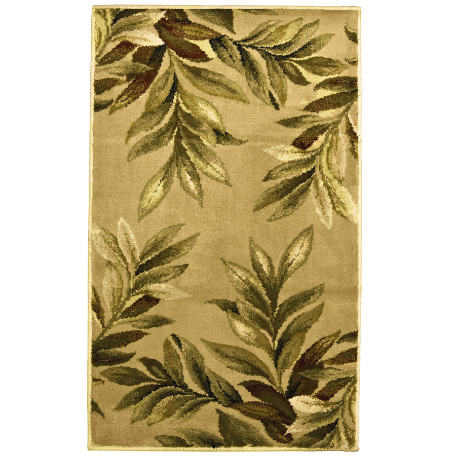 Shop allen + roth Breezy Rectangular Cream Floral Woven Throw Rug (Common: 2-ft x 3-ft; Actual ...