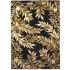 allen + roth Haiku 47-in x 65-in Rectangular Black Floral Area Rug