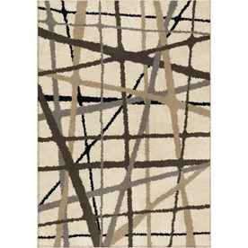allen + roth Carolina Fleece 94-in x 120-in Rectangular Cream/Beige/Almond Geometric Area Rug