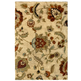 allen + roth Carolina Wild 63-in x 90-in Rectangular Cream/Beige/Almond Floral Area Rug