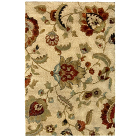 allen + roth Carolina Wild 7-ft 10-in x 10-ft Rectangular Cream/Beige/Almond Floral Area Rug