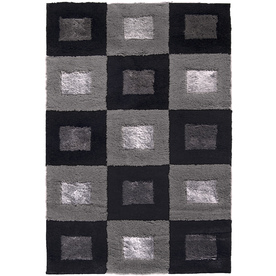 allen + roth Big City 5-ft 3-in x 7-ft 6-in Rectangular Black Block Area Rug