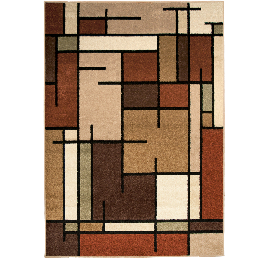 Shop Allen Roth Addington Rectangular Brown Geometric