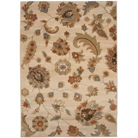 allen + roth Heritage 94-in x 120-in Rectangular Cream/Beige/Almond Floral Area Rug