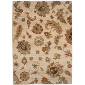 allen + roth Heritage 120-in x 157-in Rectangular Cream/Beige/Almond Floral Area Rug